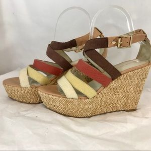Nine West woven canvas raffia wedges. NW Lavoy